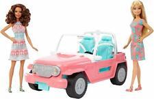 Barbie Jeep + Pack x2 Poupées Voitures Cabriolet Convertible Jouets Mattel FPR59