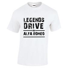Alfa Romeo Legenden Drive eine Alfa Romeo Weiß T-Shirt Schwarz Distressed Text