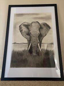 Original Elephant Charcoal Drawing - Framed