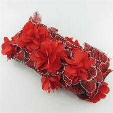 1 Meter 80mm Width Lace Red Embroidery Leaf Flower Fabric Trim Applique Sewing