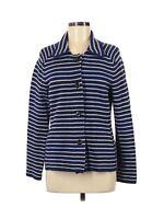 Coldwater Creek Women's Navy Blue Striped Knit Blazer Jacket Size Medium 10-12