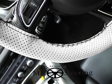 FOR MORRIS MINOR WHITE PERFORATED LEATHER STEERING WHEEL COVER BLACK STITCHING