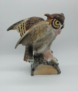 Single Ceramic Owl Bookend AS IS Repaired 9""