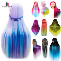 UK Salon Colorful Hair Training Head Hairdressing Styling Mannequin Doll Clamp
