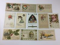 11 Victorian Xmas postcards vintage Santa 1904 camel holly 1922 some unposted