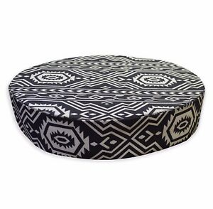 AL253r Pale Tan Black Geometric Cotton Canvas 3D Round Seat Cushion Cover Custom