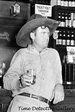 Cowboy in a Beer Parlor, Alpine, Texas - 1939 - Vintage Photo Print