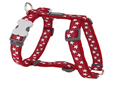 Red Dingo Desinger Dog Harness Reflective Ziggy Black 12mm X Neck 25-39cm