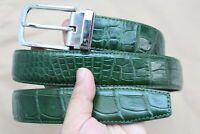 Unjointed - Genuine Alligator CROCODILE Belly BELT Skin Leather Men's Green