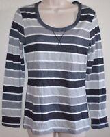 New Women's Stripe TEE Scoop-Neck Long Sleeve Henley Shirt sz S