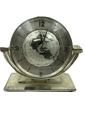Imexal Mantel World Clock Alarm & 24 Hour Indication circa 1970 Stainless Steel