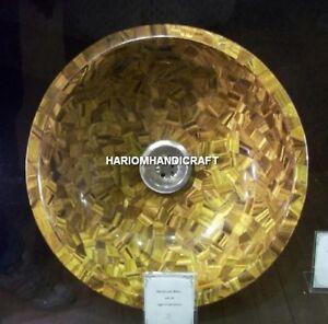 "12"" Creative Home Marble Tiger Eye Sink Arts Inlaid Best Kitchen Home Gift H4988"
