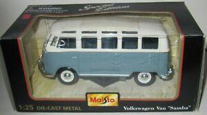 """MAISTO Volkswagen Van """"Samba"""" 1:25 Die-cast Metal SPECIAL EDITION WITH BOX"""
