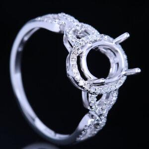 Semi Mount Wedding Diamond Ring Fine Solid 14K White Gold 9x7mm Oval Size 6.5#