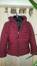 Burgundy Jacket Coat Winter Hoody Zipped Size 10
