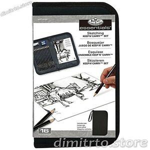 Zippered Case Drawing Sketching Pencil Set Kit Artist tools Art Graphite