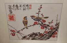CHINESE ORIGINAL WATERCOLOR BROWN BIRDS ON A BLOSSOM TREE PAINTING SIGNED