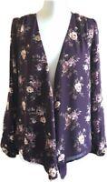 F21 Purple Floral Kimono Blazer Convertible Wrap Over Lagenlook Festival S 8 10