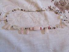 "Light Pink Rose Quartz & Glass Bead Necklace - 17""-19"" long"