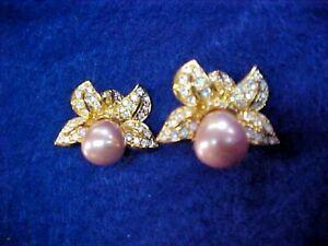Nolan Miller Rhinestone & Pearl Clip On Earrings