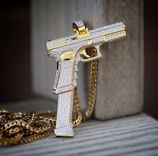 Fully Iced Out Men's Pistol Hand Gun Pendant With Chain Necklace