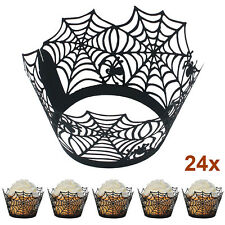 New 24pcs Black Spiderweb Laser Cut Cupcake Wrappers Liners Halloween Cake Decor