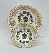 Paragon Appointment Canada Coats of Arms Tea Cup & Saucer Gold Maple Leaf  EXC