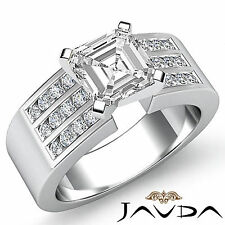 Asscher Cut Diamond Channel Set Engagement Ring GIA G VS2 14k White Gold 1.31 ct