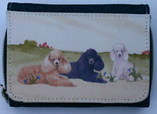 POODLE DOG UTILITY BREED DENIM BLUE FABRIC PURSE WALLET WATERCOLOUR DESIGN PRINT