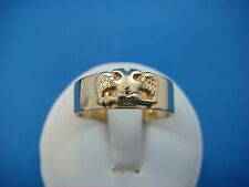 !MASONIC 14K GOLD ANTIQUE HAND MADE BAND-RING  7 MM WIDE, 6.5 GRAMS, SIZE 9.75