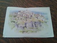 carte postale le village en haut aquarelle de loic trehin