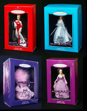 2000 2001 2002 2003 Porcelain Hallmark Ornament Holiday Collector Barbie Lot 4
