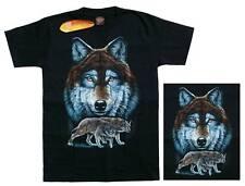 T-shirt cabeza de lobo retrato, talla s, Western Biker indios vaquero lobos naturaleza salvaje