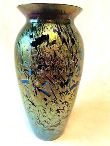 STUNNING ROYAL BRIERLEY  IRIDESCENT BLUE GLASS VASE   20cm  SIGNED