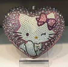 NIB Crystal Bag Clutch Hand Bag made w swarovski elements Heart Hello Kitty