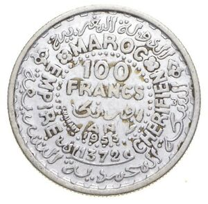 SILVER Roughly Size of Nickel 1953 Morocco 100 Francs World Silver Coin *637