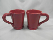 2 COFFEE MUGS TRACY OCTAVIA HILL SOLID RED