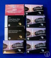 2010 through 2017 SILVER Proof Set Replacement Boxes/COA's ONLY- NO COINS
