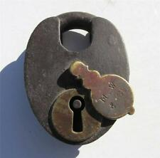 Early Old Antique Steel & Brass Padlock M W & CO. with Swinging Key Hole Guard
