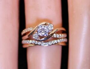 Petite & Gorgeous Ladies 14K Rose Gold .56 Ct RB Diamond Wedding Ring & Band Set