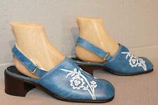 10 M NOS Vtg 60s 70s SlingBack Clog Blue Floral Chunky Heel Hippie Boho Shoe
