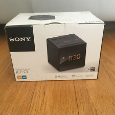 *BRAND NEW* Sony ICF-C1 Black Cube FM/AM Analogue Tuner Radio Alarm Clock
