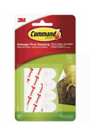 """Command Poster Hanging Strips, 12 Strips, White, 5/8"""" x 1 3/4"""" Holds Strongly"""