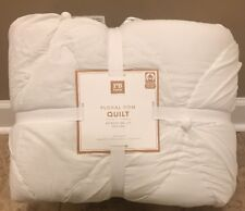 NEW Pottery Barn Teen Floral Pom FULL QUEEN Quilt  WHITE