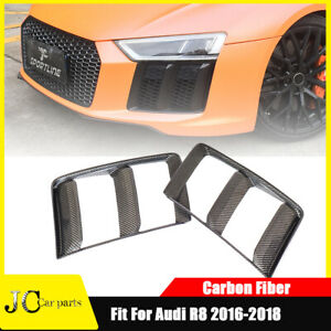 Fit For Audi R8 2016-2018 Side Air Vent Grill Fog Light Cover Real Carbon 2PCS