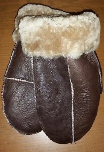 NEW! REAL LEATHER UNISEX SHEEPSKIN SHEARLING MITTENS MITTS THICK WARM XS to XL