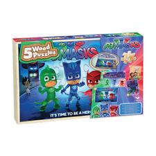 NEW Disney Jr PJ Masks Set of 5 Wooden Puzzles Fun Kids Wood Puzzle Gift Set!