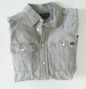 Ralph Lauren Boys Long Sleeve Chambray Shirt Lt Gray Sz M (10-12) - NWT