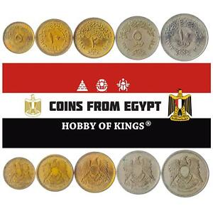 SET OF 5 COINS FROM EGYPT. 5, 10 MILLIEMES, 2, 5, 10 QIRSH - PIASTRES. 1972-1980