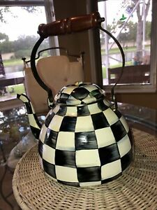 Mackenzie-Childs Large Courtly Check Black/White Enamel Teapot  Tea Kettle As-Is